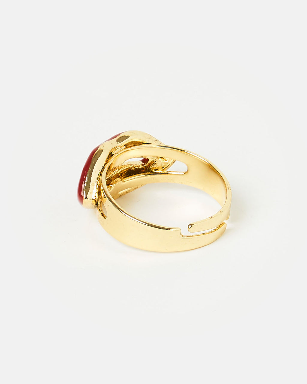 Izoa Lips Ring Gold Red