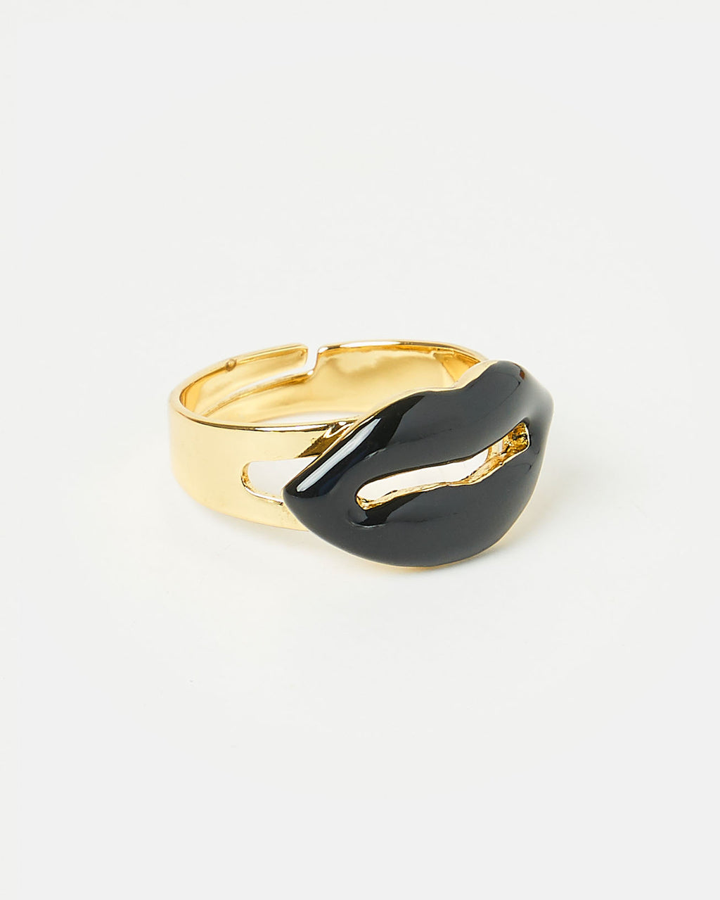 Izoa Lips Ring Gold Black