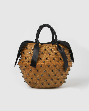 Izoa Imani Basket Bag Natural/Black
