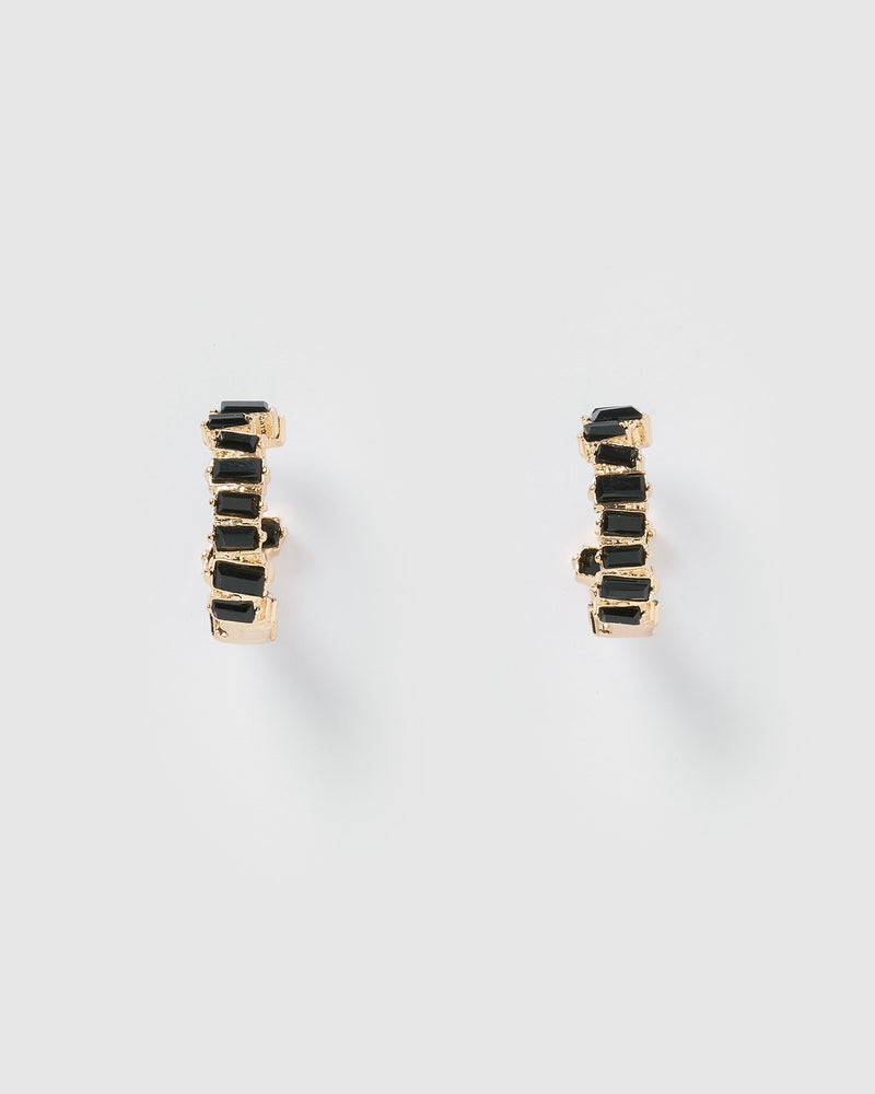 Izoa Addison Hoop Earrings Black