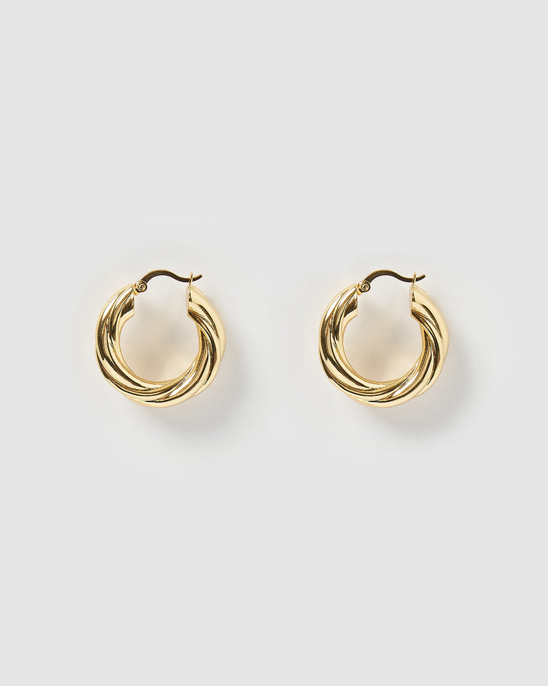 Izoa Aikn Twisted Hoop Earrings Gold