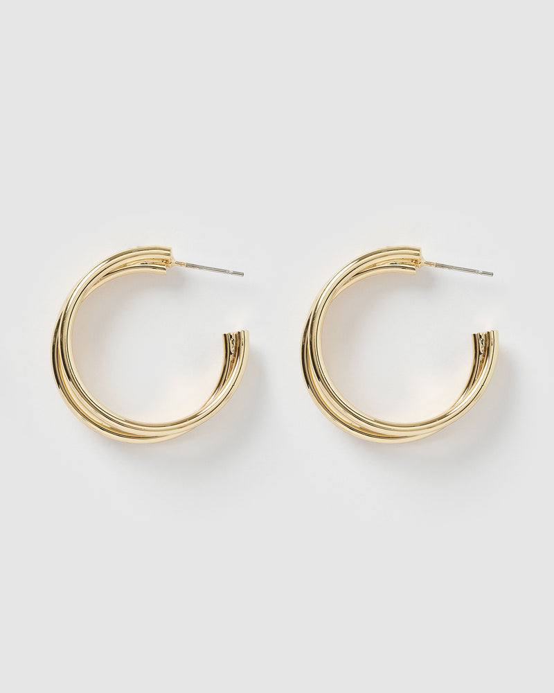 Izoa Angie Triple Hoop Earrings Gold