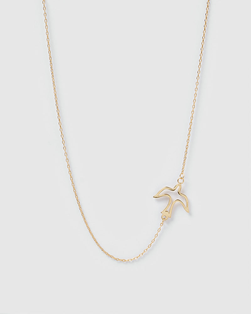Izoa Birdie Choker Style Necklace Gold
