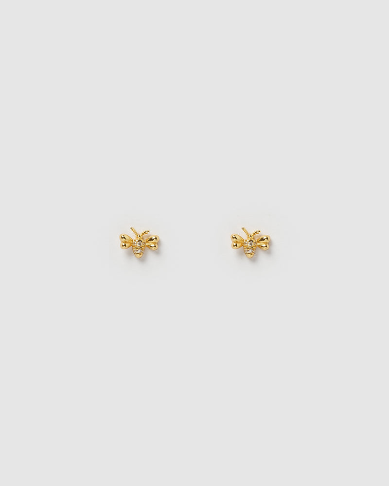 Izoa Bumble Stud Earrings Gold