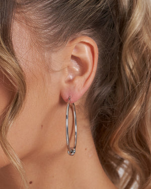 Izoa Callie Hoop Earrings Silver