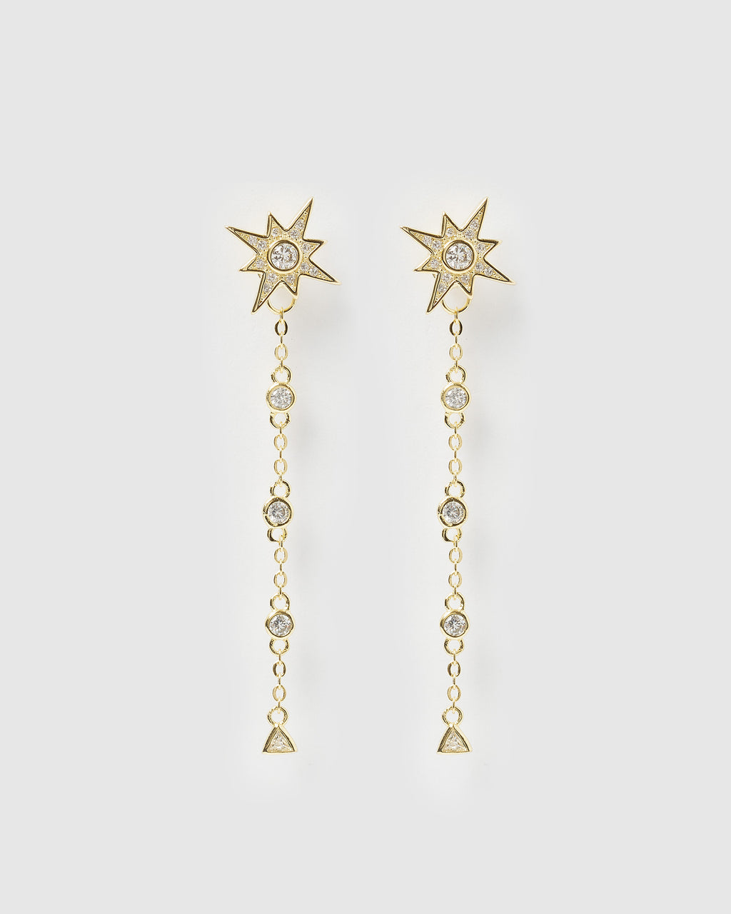 Izoa Celeste Drop Stud Earrings Gold