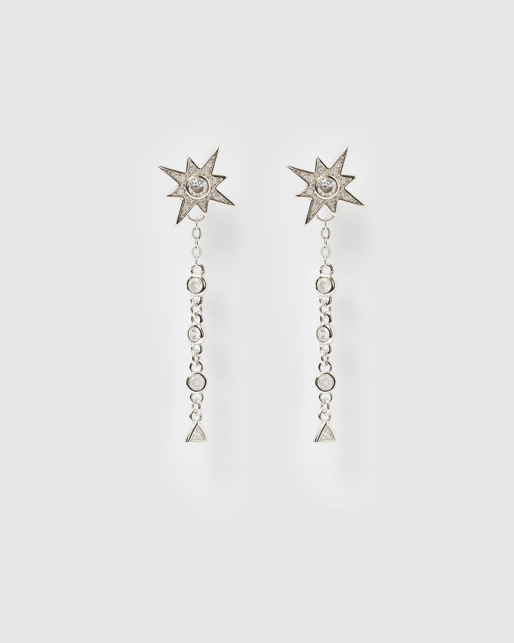 Izoa Celeste Drop Stud Earrings Silver