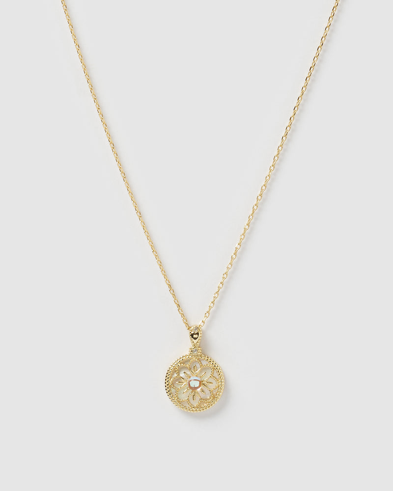 Izoa Dahlia Pendant Necklace Gold