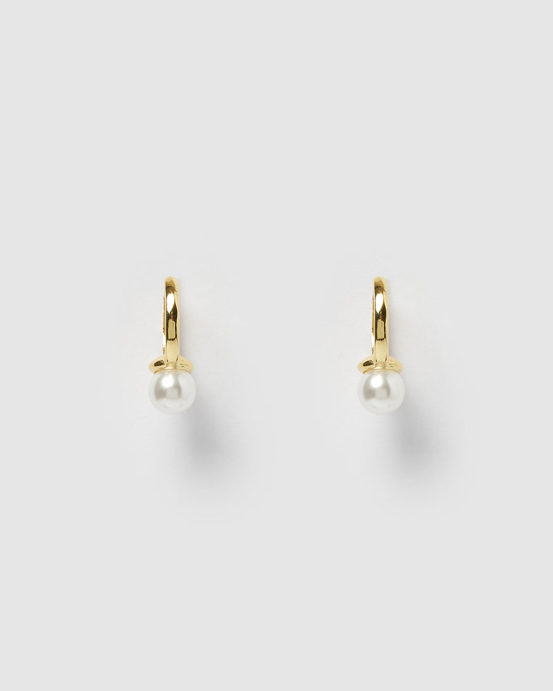 Izoa Davies Mini Huggie Earrings Gold Pearl