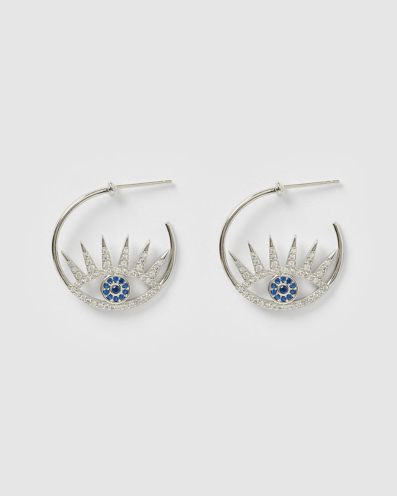 Izoa Dimi Embellished Hoop Earrings Silver