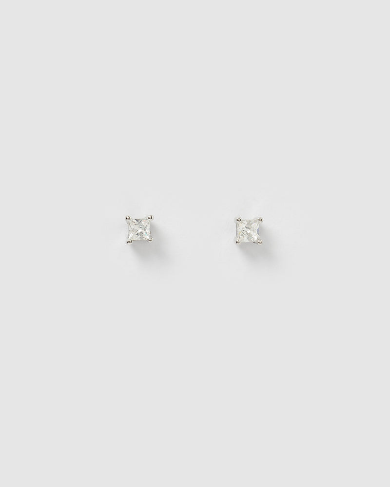 Izoa Dion Mini Stud Earrings Silver