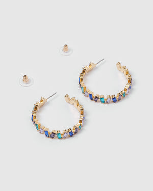 Izoa Elsa Hoop Earrings Blue Multi