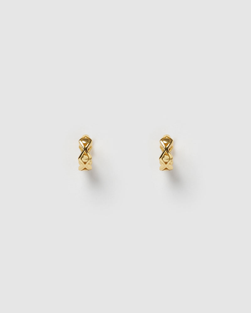 Izoa Eye Detail Huggie Earrings Gold