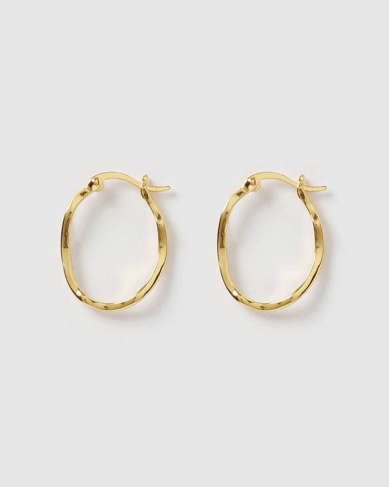 Izoa Herringbone Hoop Earrings Gold