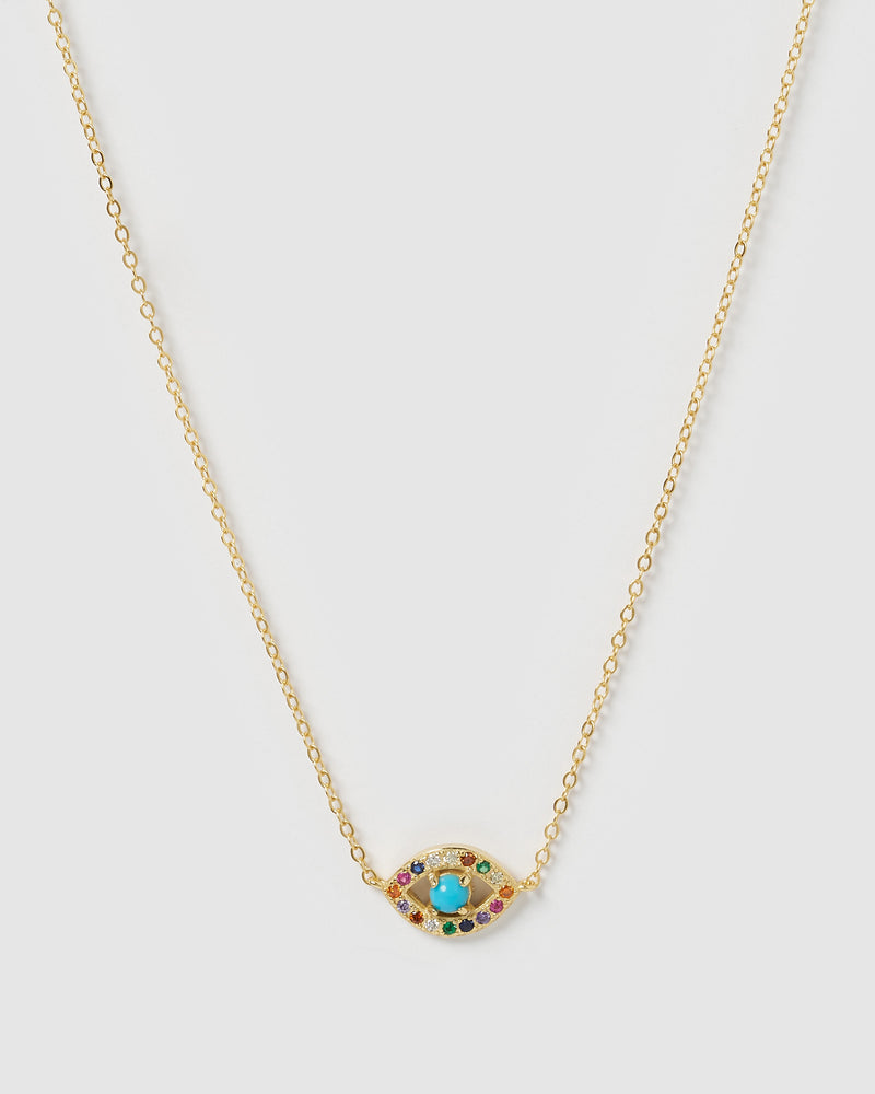 Izoa Jordan Evil Eye Necklace Gold Multi
