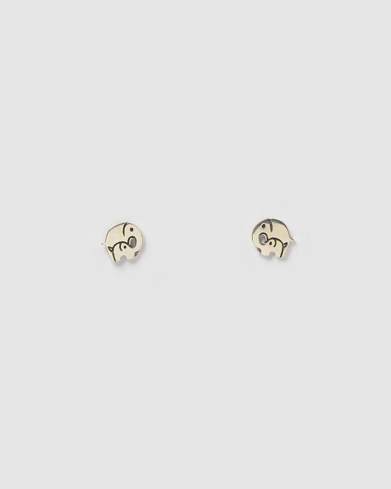 Izoa Kids Elephant Stud Earrings Sterling Silver
