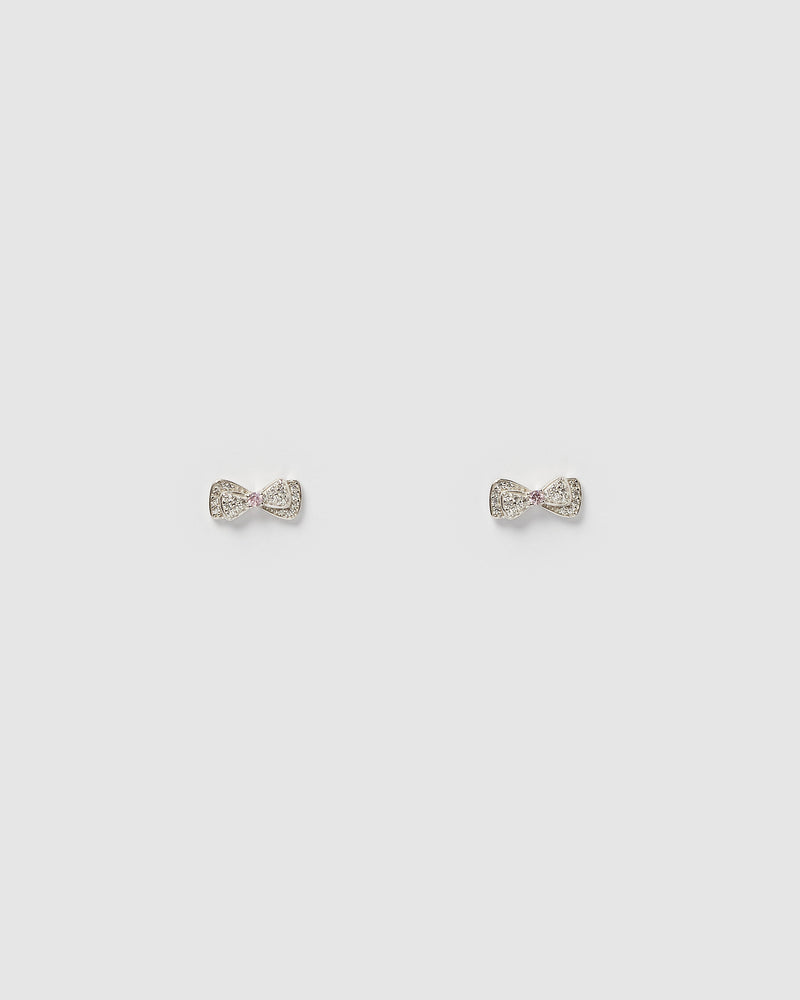 Izoa Kids Petit Bow Stud Earrings Sterling Silver