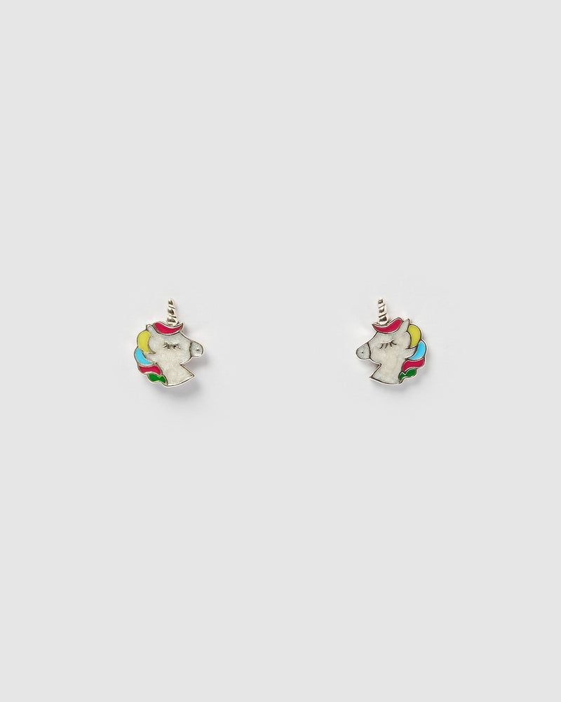 Izoa Kids Unicorn Stud Earrings Sterling Silver