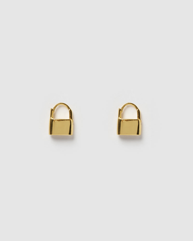 Izoa Locked Huggie Earrings Gold