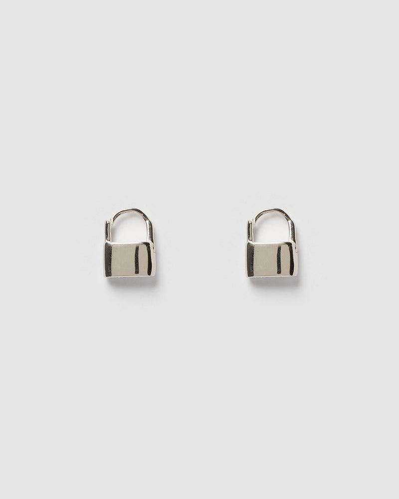 Izoa Locked Huggie Earrings Silver