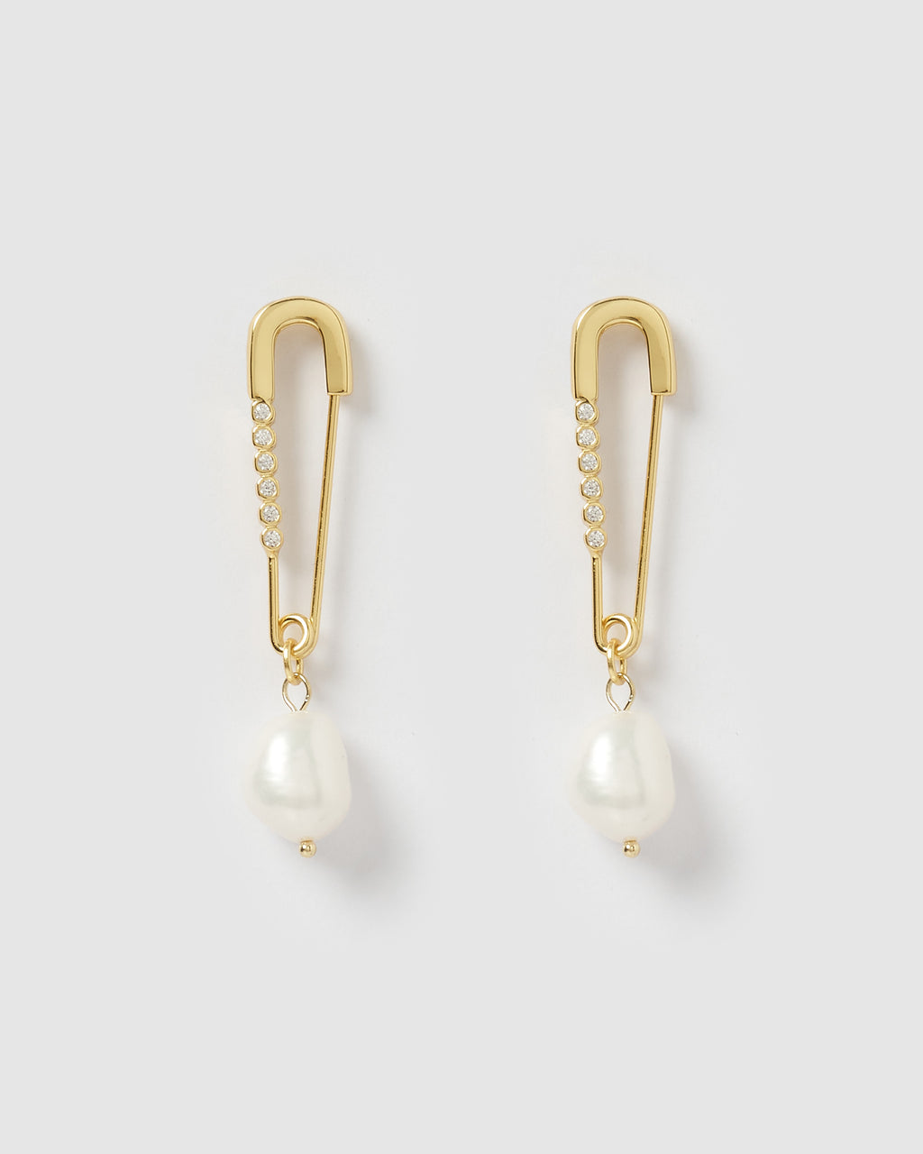 Izoa Lola Safety Pin Earrings Gold