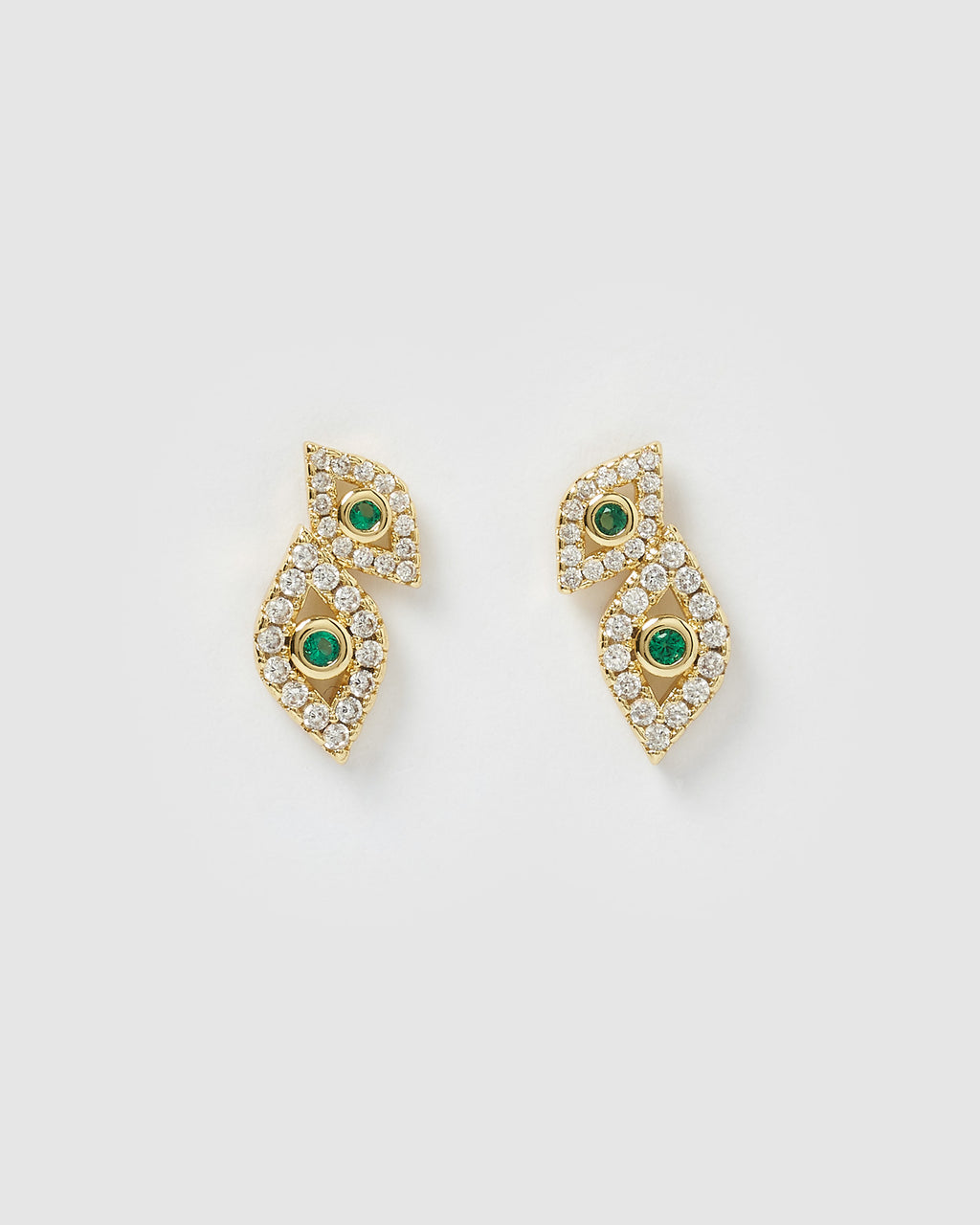 Izoa Looking At You Evil Eye Studs Gold Green