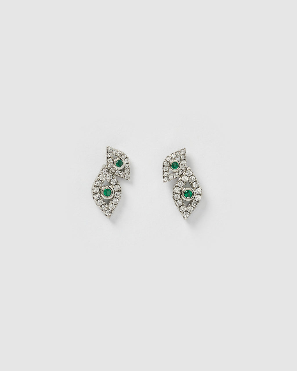 Izoa Looking At You Evil Eye Studs Silver Green
