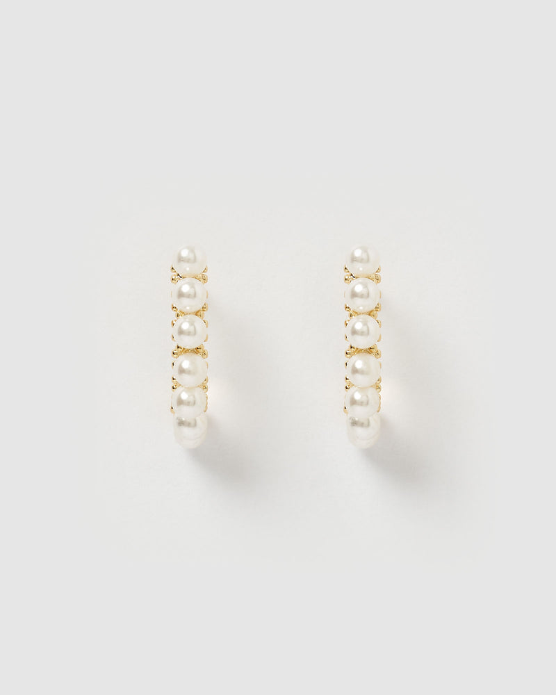 Izoa Mary Curved Stud Earring Gold Pearl