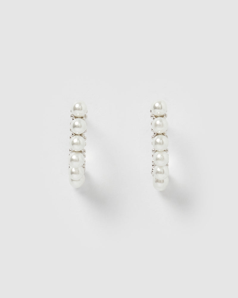 Izoa Mary Curved Stud Earring Silver Pearl