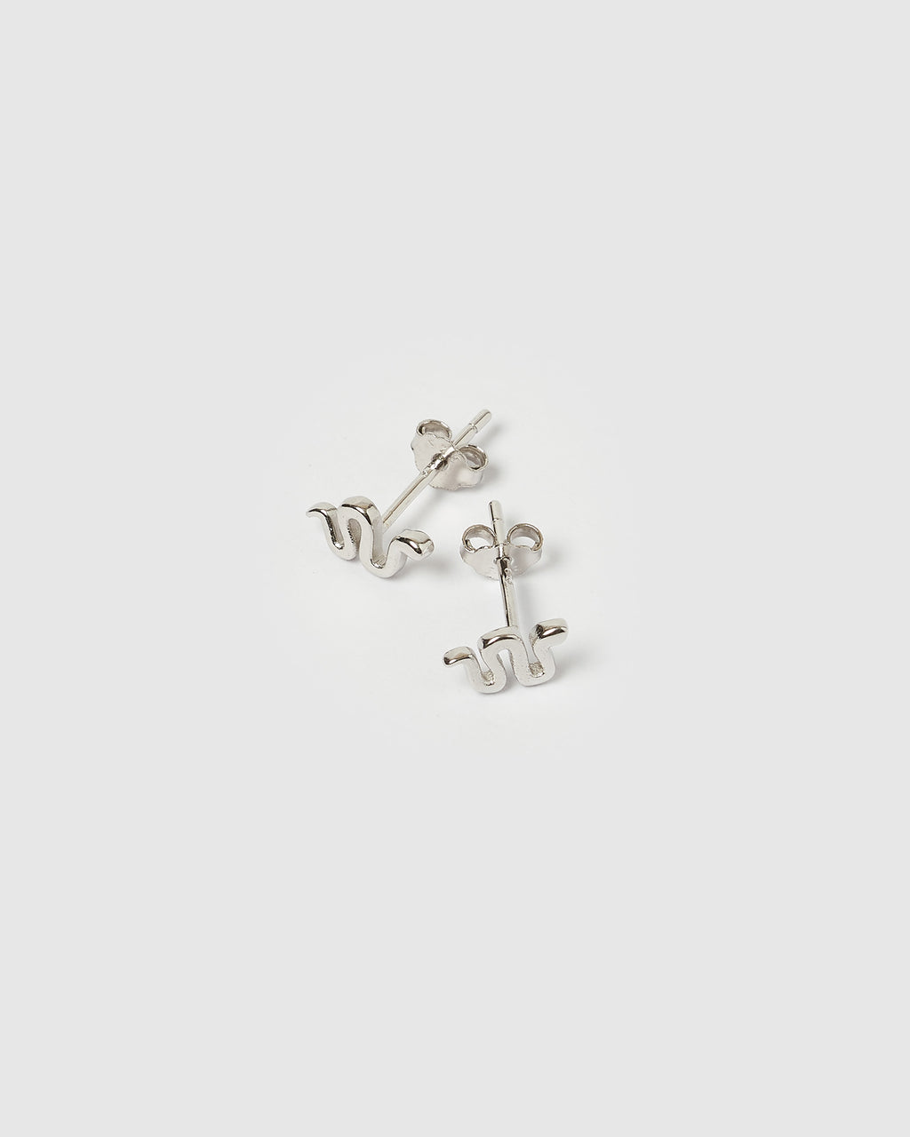 Izoa Mini Ophidian Stud Earrings Silver