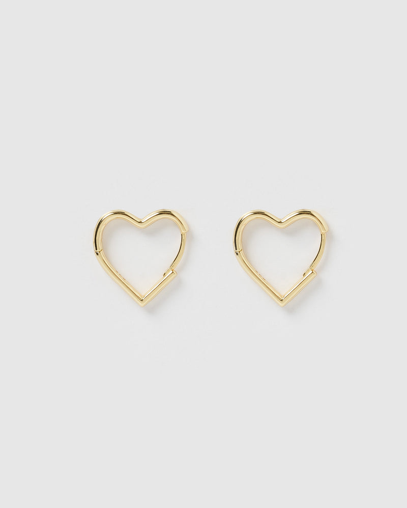 Izoa Mini Zoe Heart Earrings Gold