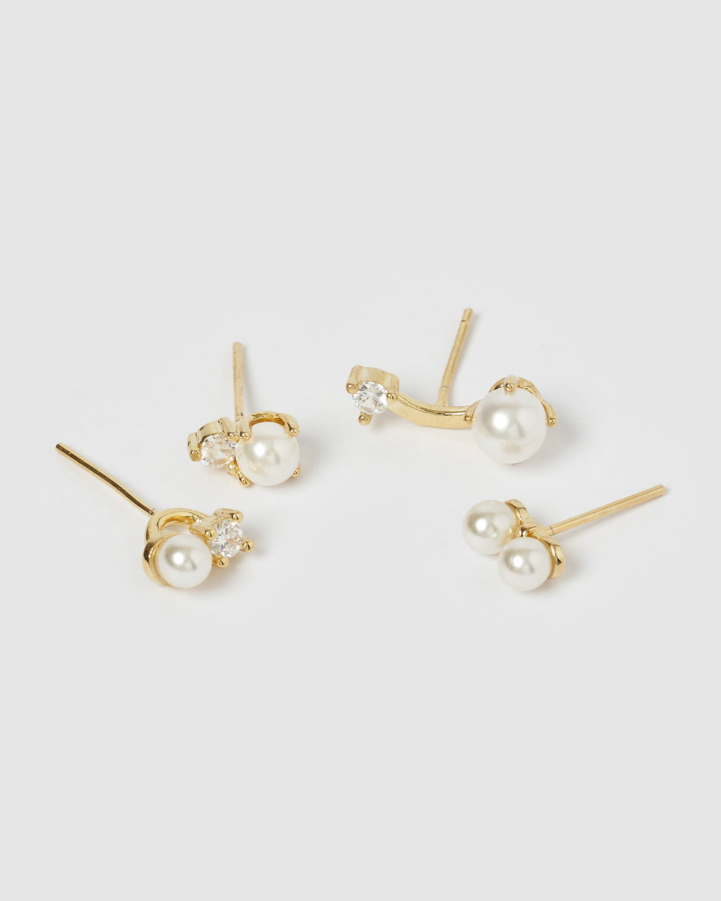 Izoa Nikki 4 Piece Stud Earring Set Gold Pearl