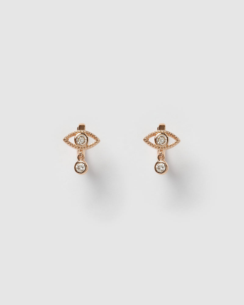 Izoa Nour Evil Eye Huggie Earrings Rose Gold