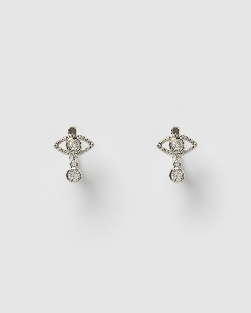 Izoa Nour Evil Eye Huggie Earrings Silver