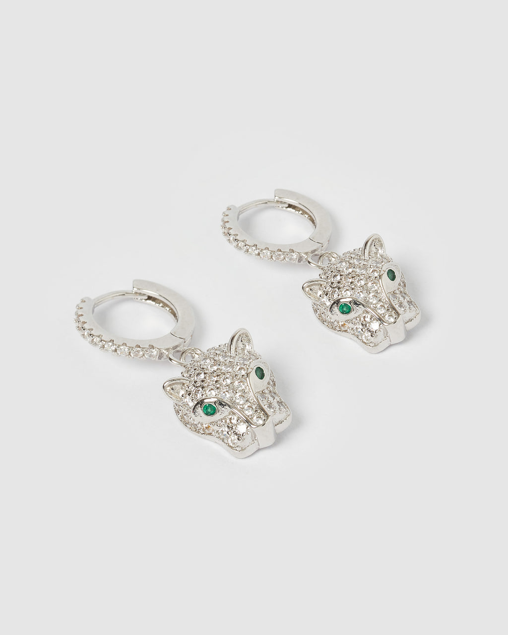 Izoa Panther Huggie Earrings Silver Green
