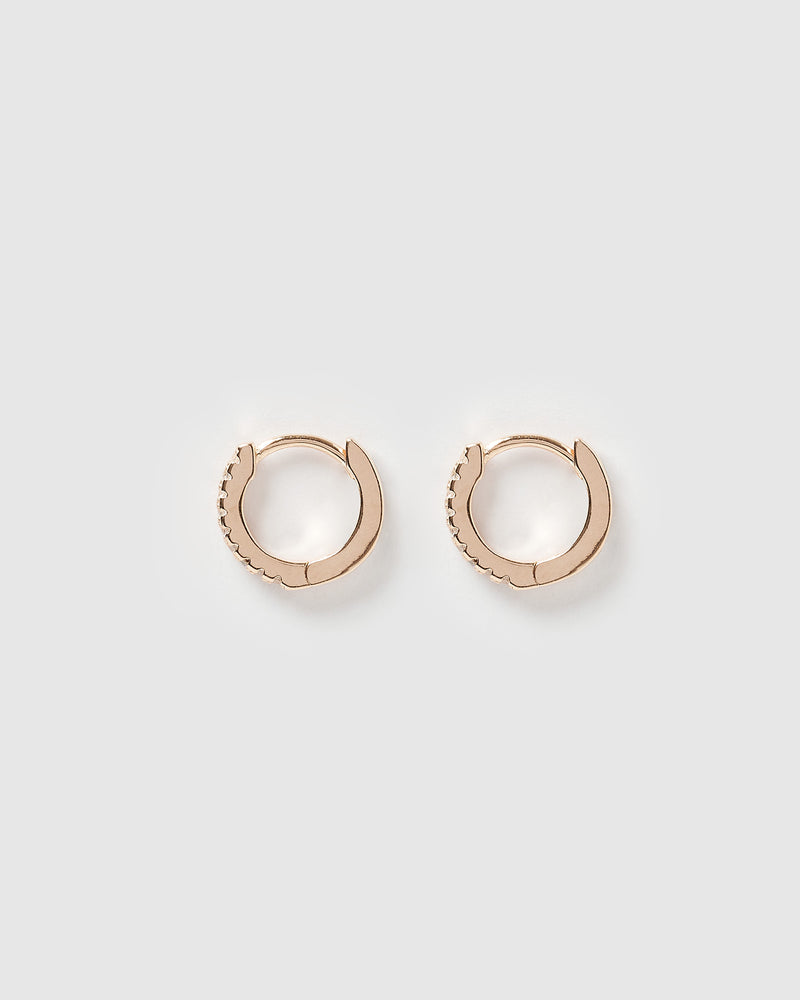 Izoa Rae Mini Huggie Earrings Rose Gold