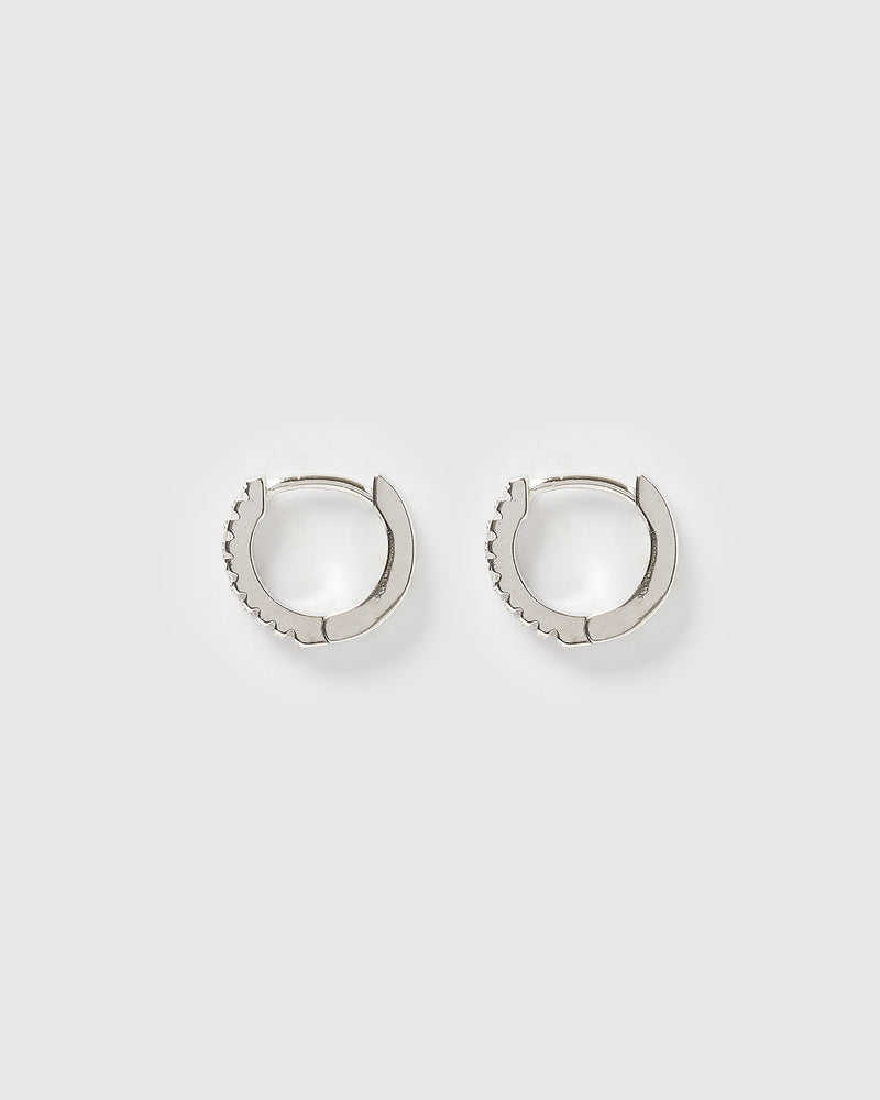 Izoa Rae Mini Huggie Earrings Silver