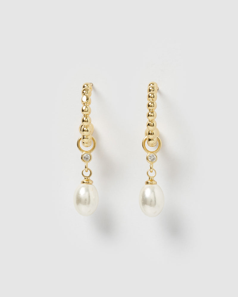 Izoa Rafiki Drop Pearl Hoop Earrings Gold