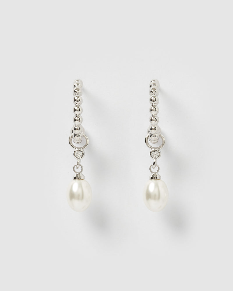 Izoa Rafiki Drop Pearl Hoop Earrings Silver