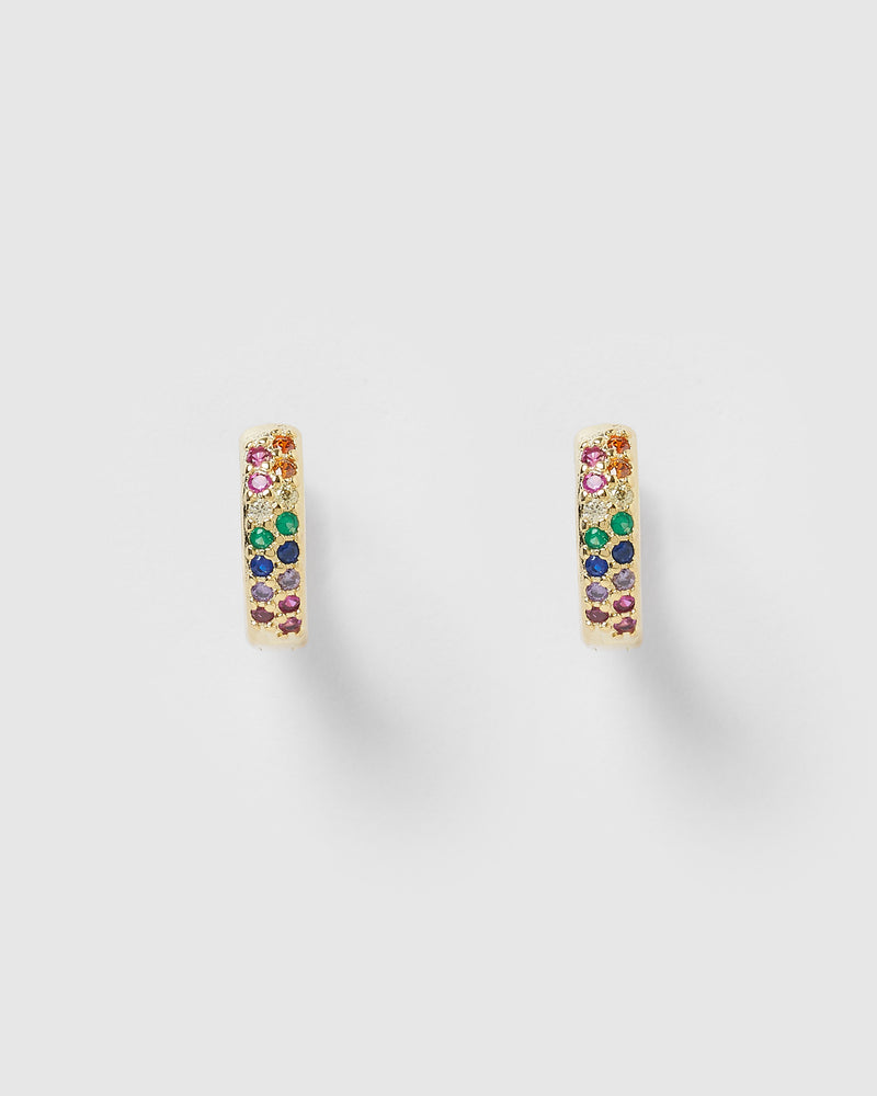 Izoa Rainbow Huggie Earrings Gold Multi