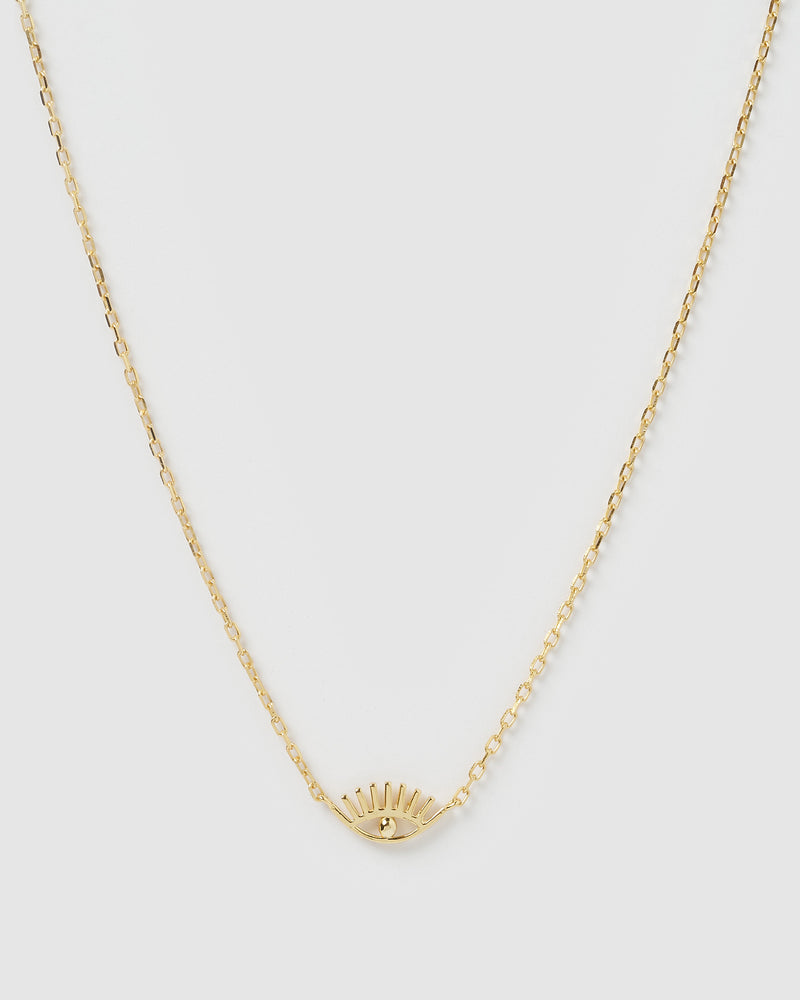 Izoa Sara Evil Eye Necklace Gold