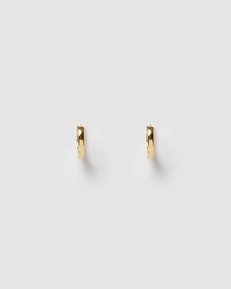 Izoa Solid Huggie Earrings Gold