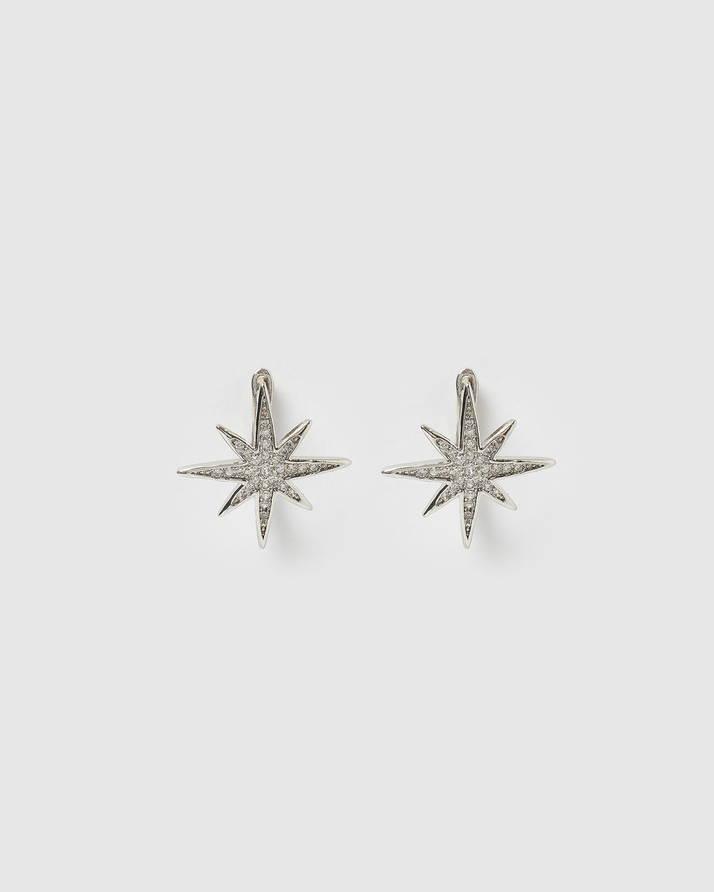 Izoa Starburst Huggie Earrings Silver