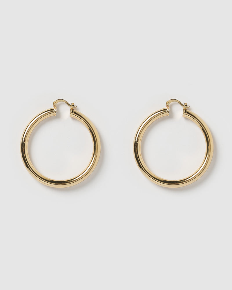 Izoa Teddy Hoop Earrings Gold