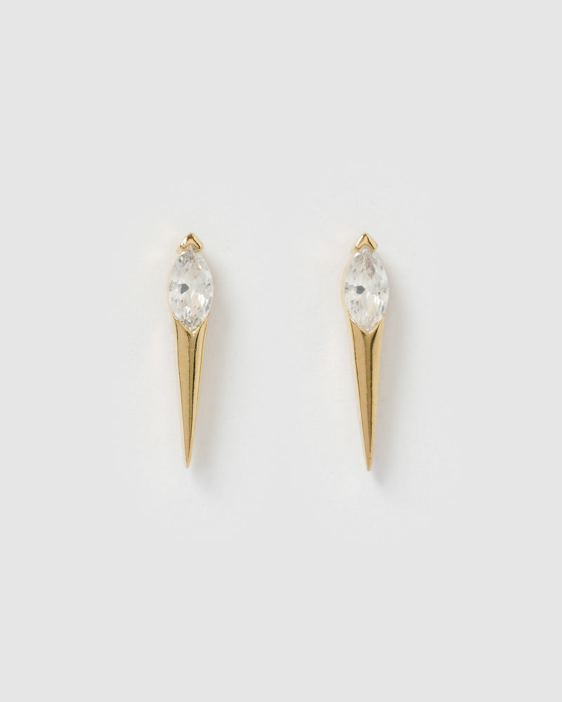 Izoa Teneille Pointed Stud Earrings Gold