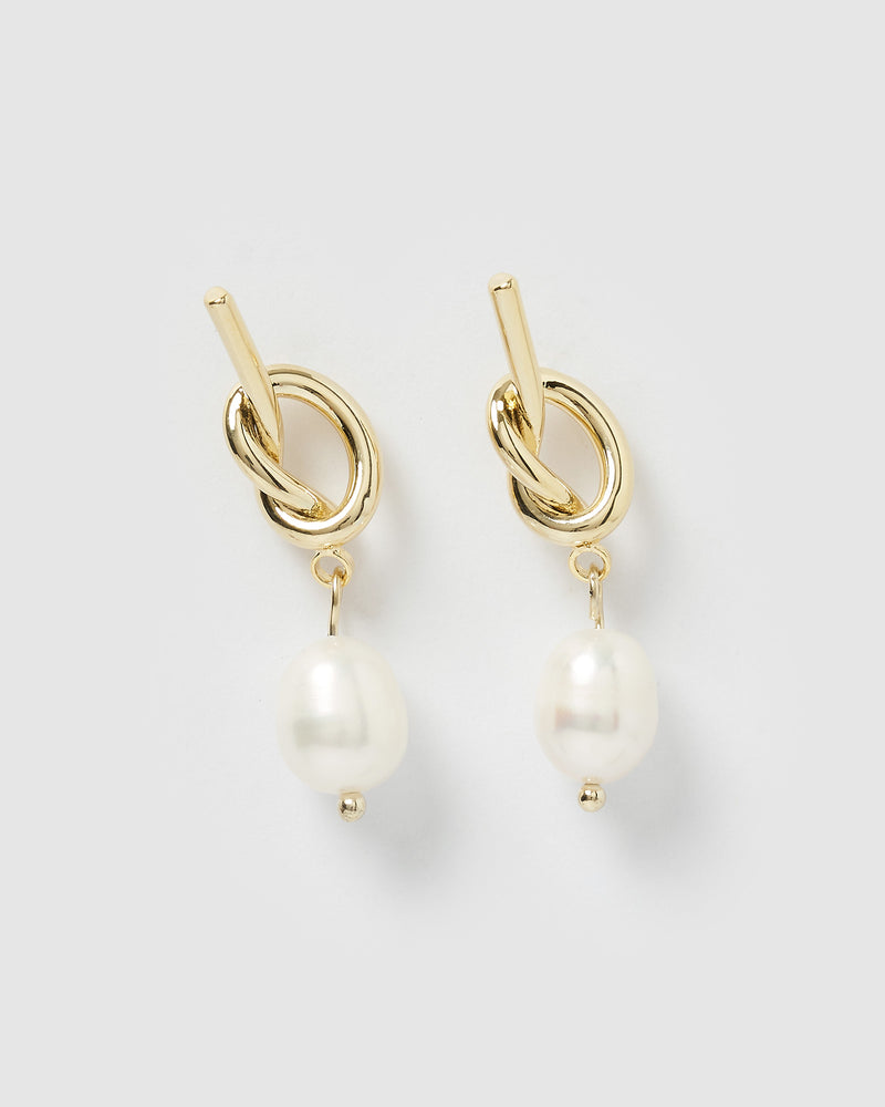 Izoa Tie The Knot Earrings Gold Freshwater Pearl