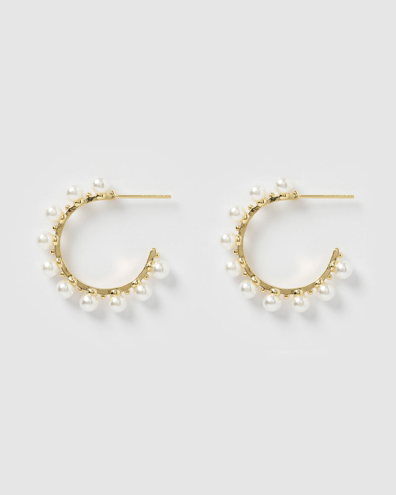 Izoa Verity Pearl Hoop Earrings Gold