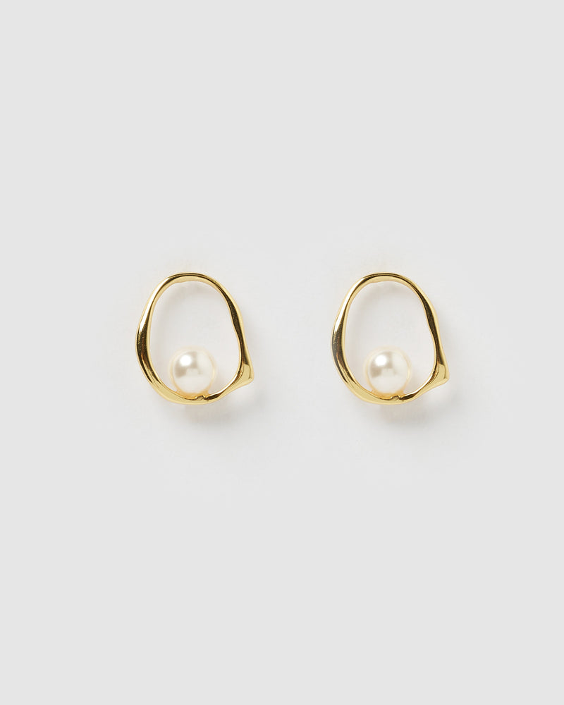 Izoa Jade Freshwater Pearl Earrings Gold
