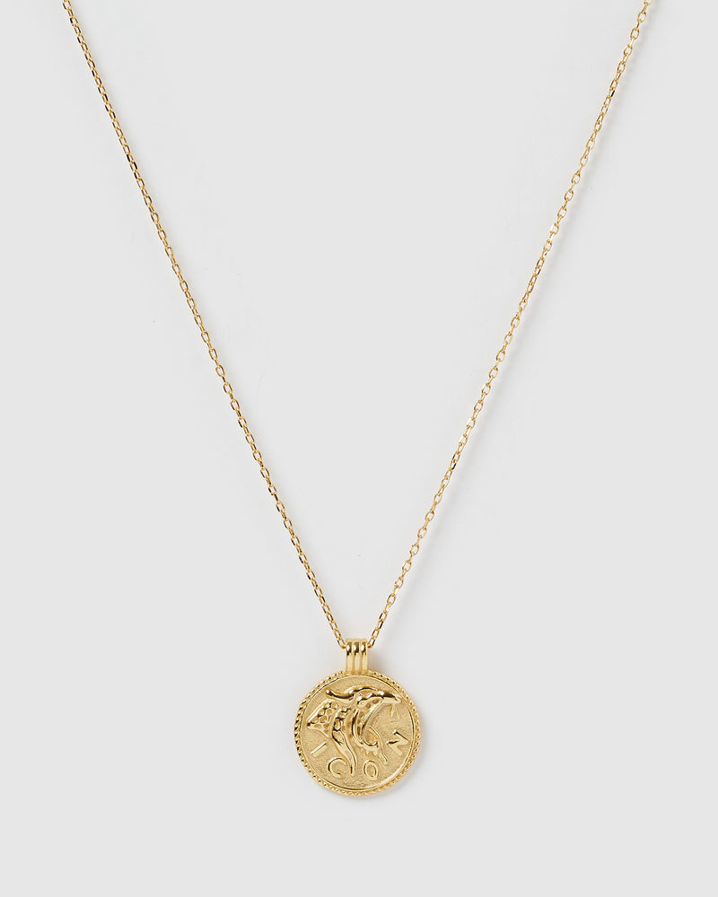 Izoa Jaguar Coin Necklace Gold