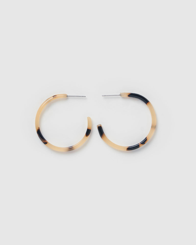 Izoa Jezabel Mini Hoop Earrings White Tortoise